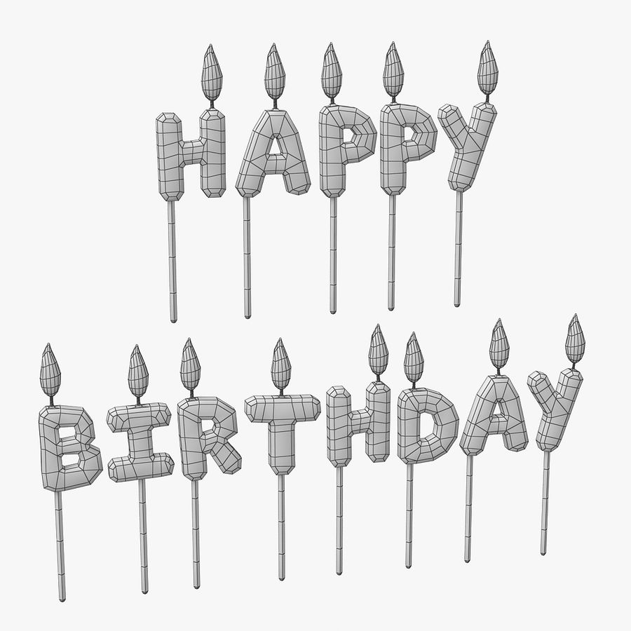 Happy Birthday Candles royalty-free 3d model - Preview no. 1