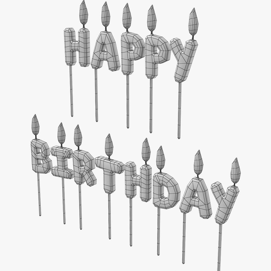 Happy Birthday Candles royalty-free 3d model - Preview no. 2