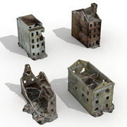 Destroyed Ruin Abandoned Buildings Set 4 Collection 3d model