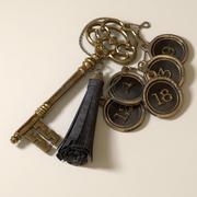 Skeleton Key, leather tassel keyring and fobs 3d model