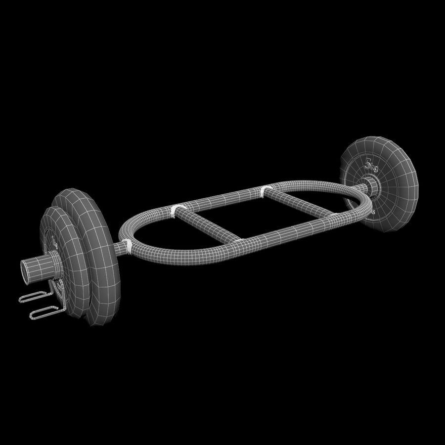 Olimpijska sztanga sztangowa z 2 kołnierzami sprężynowymi royalty-free 3d model - Preview no. 7