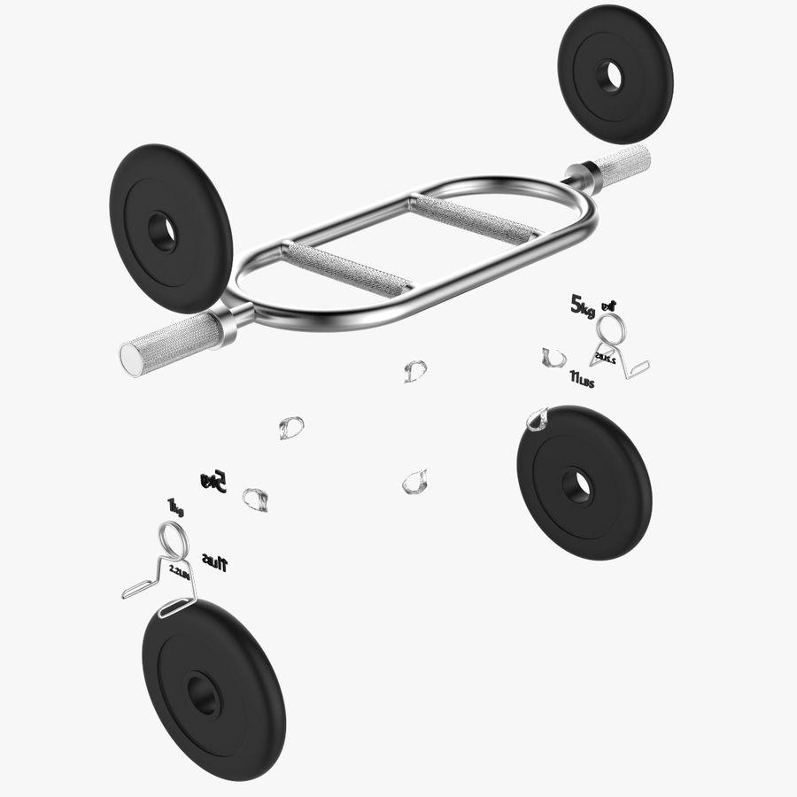 Olimpijska sztanga sztangowa z 2 kołnierzami sprężynowymi royalty-free 3d model - Preview no. 6