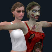zombie and girl 3d model