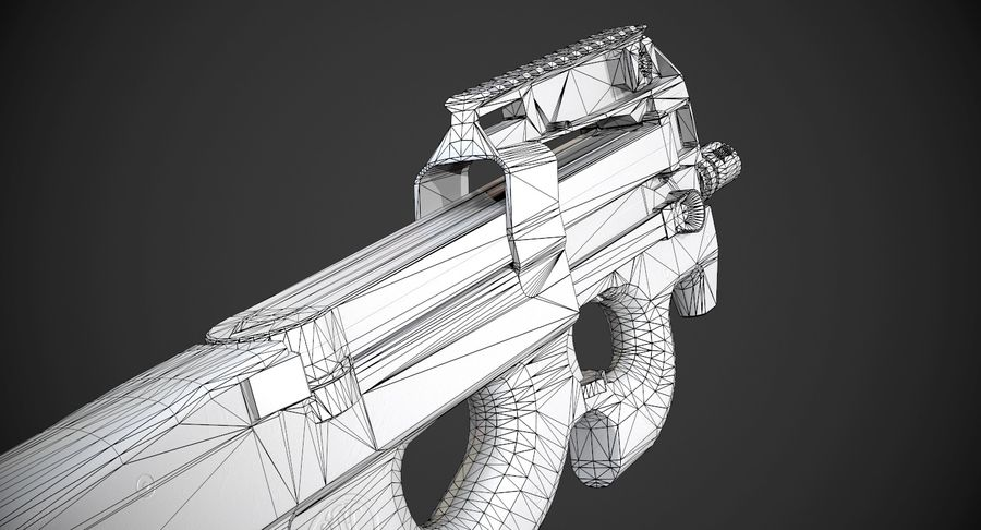 P90 AAA Game Weapon royalty-free 3d model - Preview no. 15