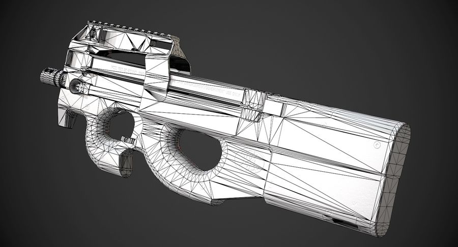 P90 AAA Game Weapon royalty-free 3d model - Preview no. 11