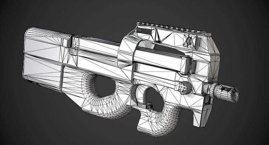 P90 AAA Game Weapon royalty-free 3d model - Preview no. 16