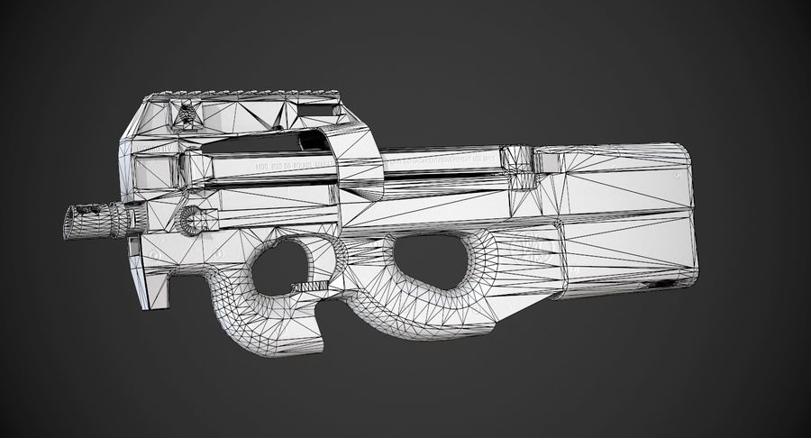 P90 AAA Game Weapon royalty-free 3d model - Preview no. 10