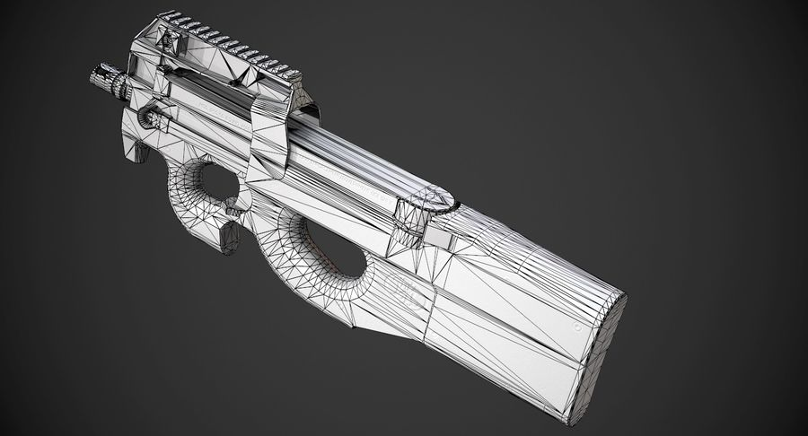 P90 AAA Game Weapon royalty-free 3d model - Preview no. 13