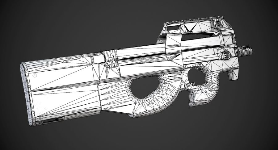 P90 AAA Game Weapon royalty-free 3d model - Preview no. 14