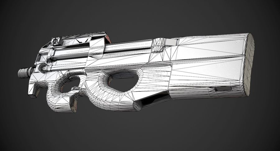 P90 AAA Game Weapon royalty-free 3d model - Preview no. 12