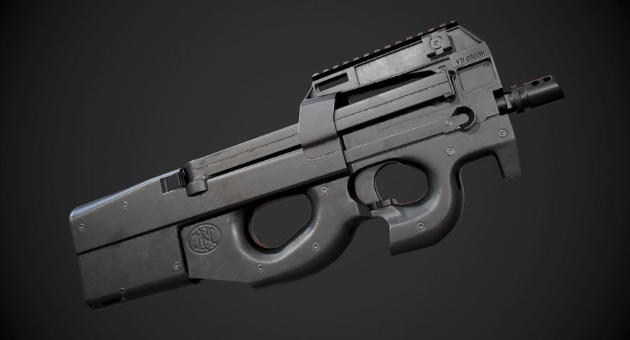 P90 AAA Game Weapon royalty-free 3d model - Preview no. 2