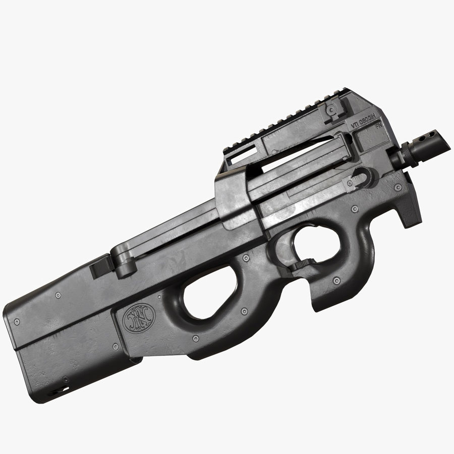 P90 AAA Game Weapon royalty-free 3d model - Preview no. 1