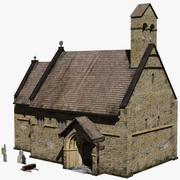 Średniowieczna kaplica i cmentarz 3d model