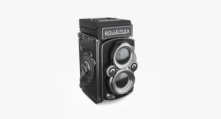 Rolleiflex-kamera stängd royalty-free 3d model - Preview no. 2
