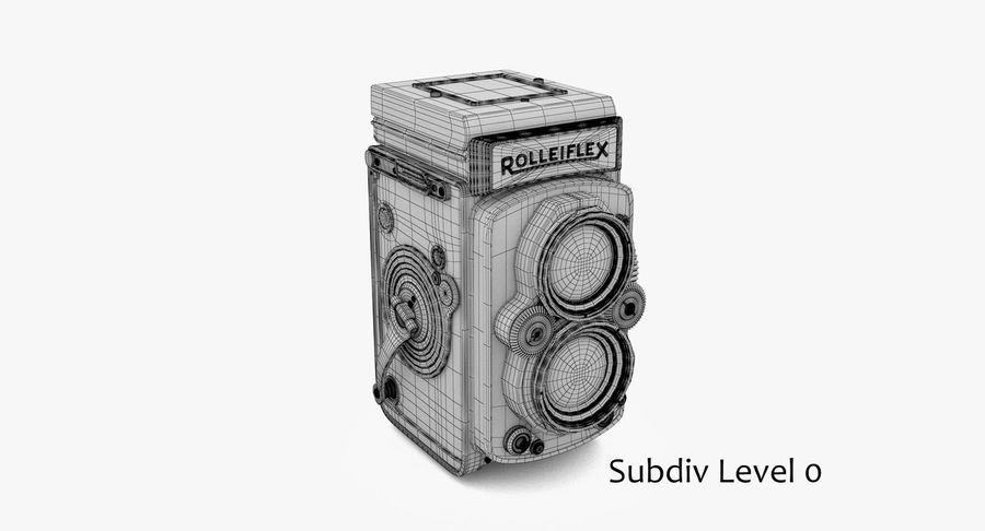 Rolleiflex-kamera stängd royalty-free 3d model - Preview no. 6