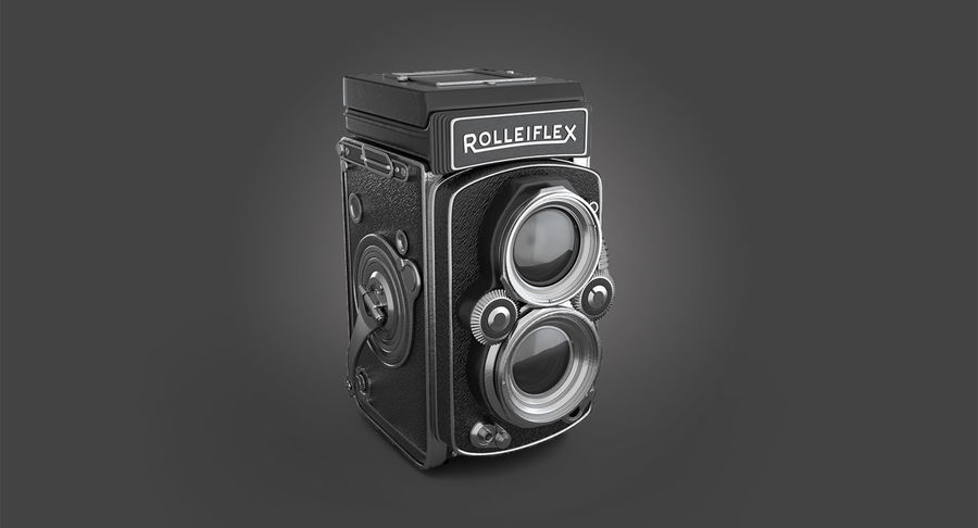 Rolleiflex-kamera stängd royalty-free 3d model - Preview no. 3