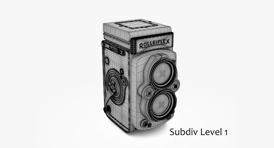 Rolleiflex-kamera stängd royalty-free 3d model - Preview no. 7