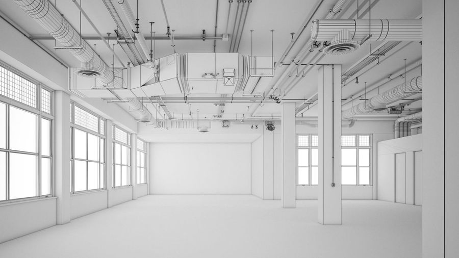 Industrial Office Interior (inga material) royalty-free 3d model - Preview no. 7