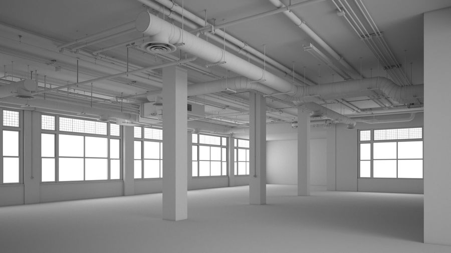 Industrial Office Interior (inga material) royalty-free 3d model - Preview no. 3
