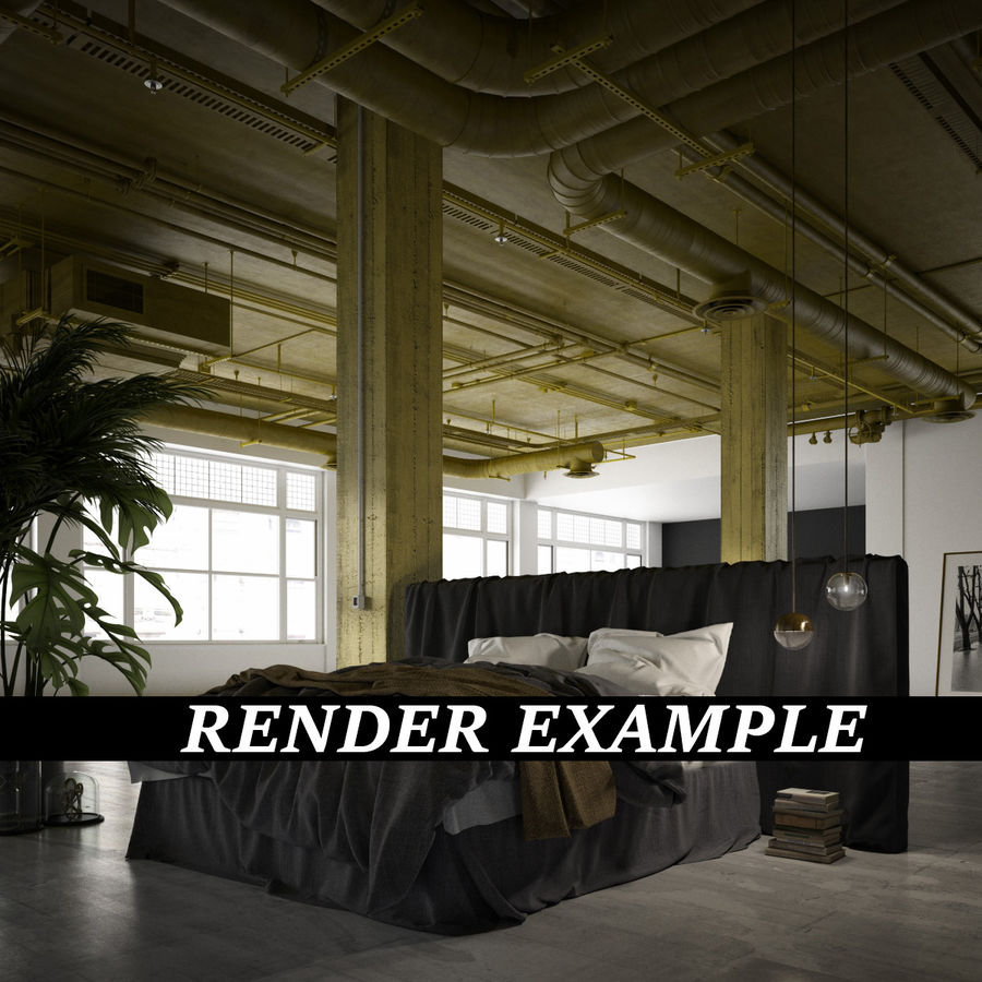 Industrial Office Interior (inga material) royalty-free 3d model - Preview no. 11