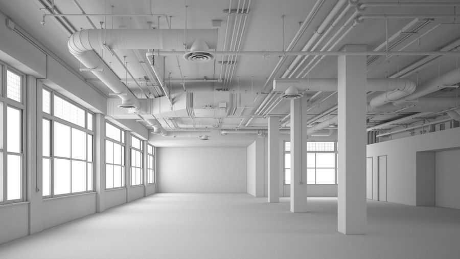 Industrial Office Interior (inga material) royalty-free 3d model - Preview no. 2
