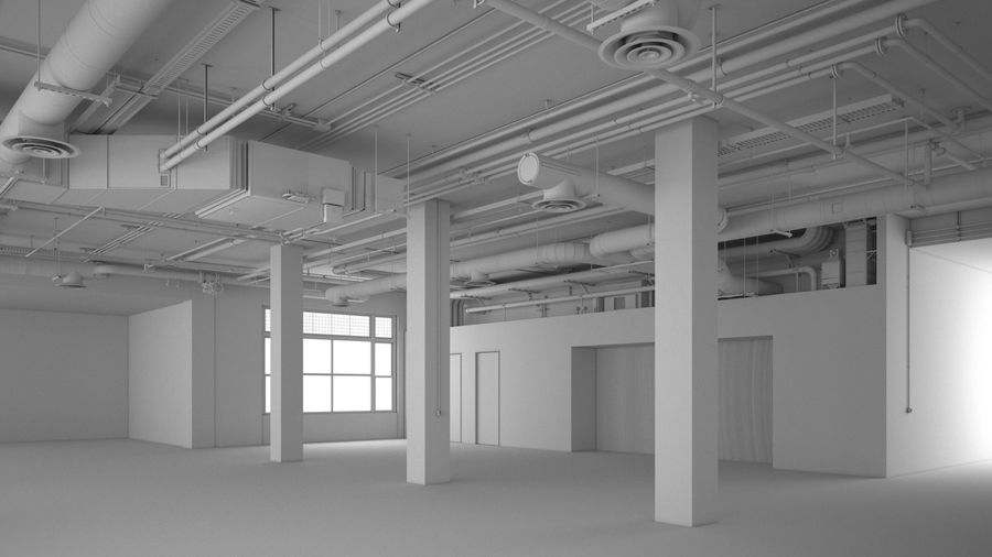 Industrial Office Interior (inga material) royalty-free 3d model - Preview no. 5