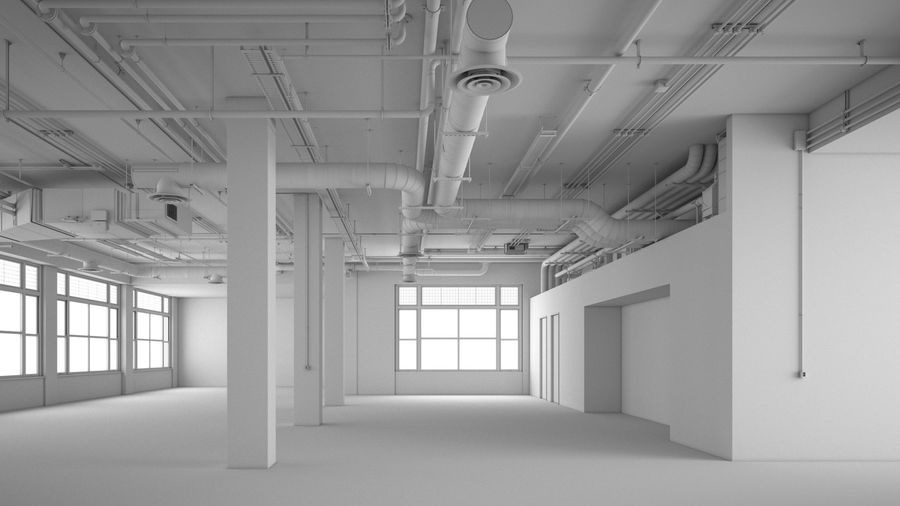 Industrial Office Interior (inga material) royalty-free 3d model - Preview no. 1