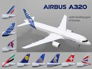 Airbus A320 com trem de pouso e 9 librés 3d model