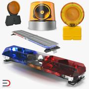 Verzameling van noodwaarschuwingslichten 3d model