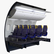 Ryanair Economy Airplane Wall and Seats 3d model