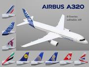 9 + 1 canlıya sahip Airbus A320 3d model