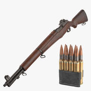 M1 Garand Rifle and Ammo 3d model