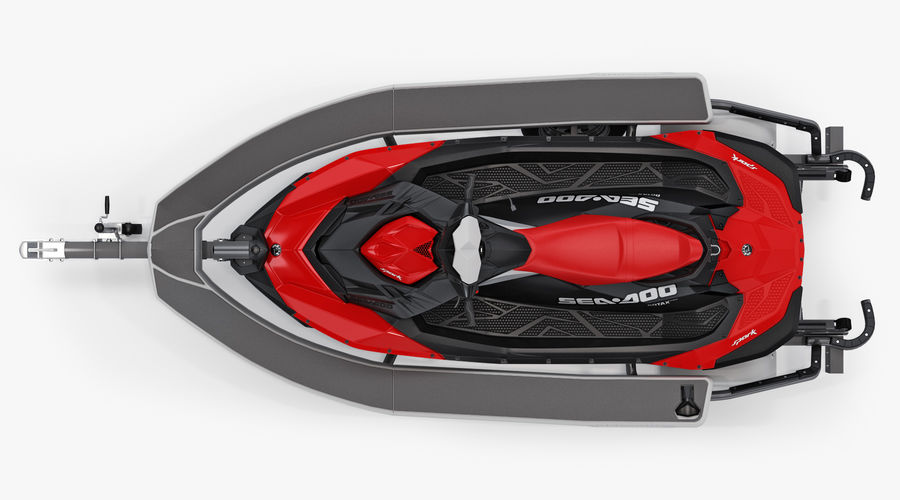 SEA-DOO Spark on Trailer royalty-free 3d model - Preview no. 8