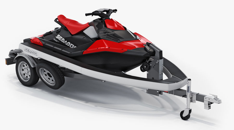 SEA-DOO Spark on Trailer royalty-free 3d model - Preview no. 3