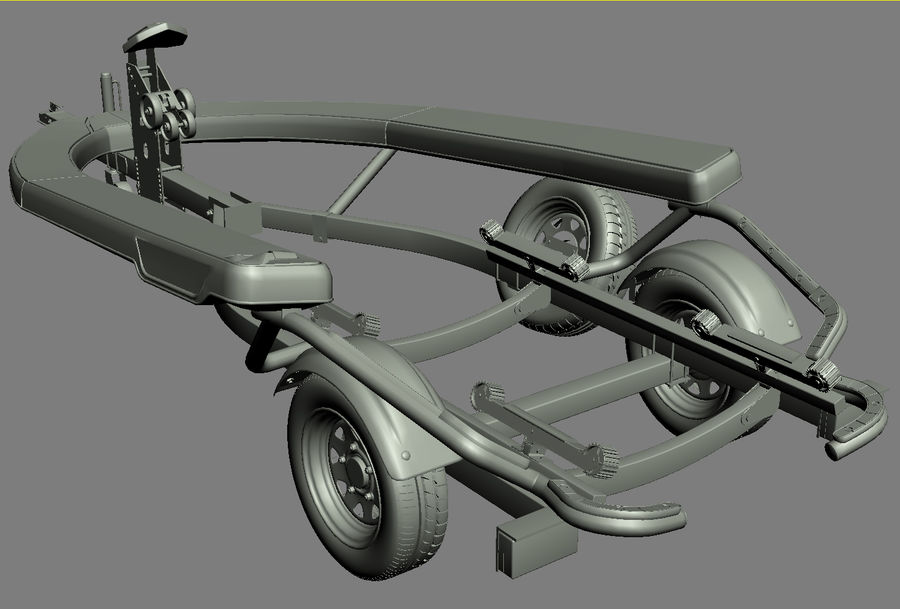 SEA-DOO Spark on Trailer royalty-free 3d model - Preview no. 42