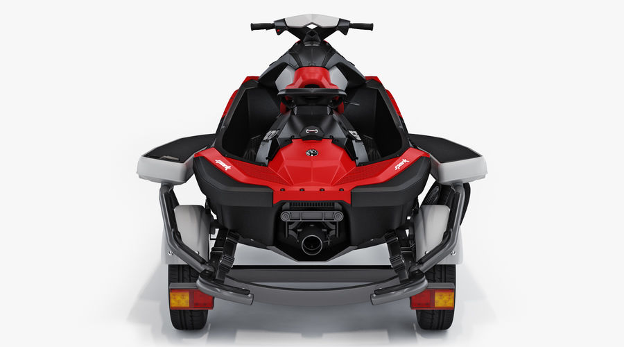 SEA-DOO Spark on Trailer royalty-free 3d model - Preview no. 7