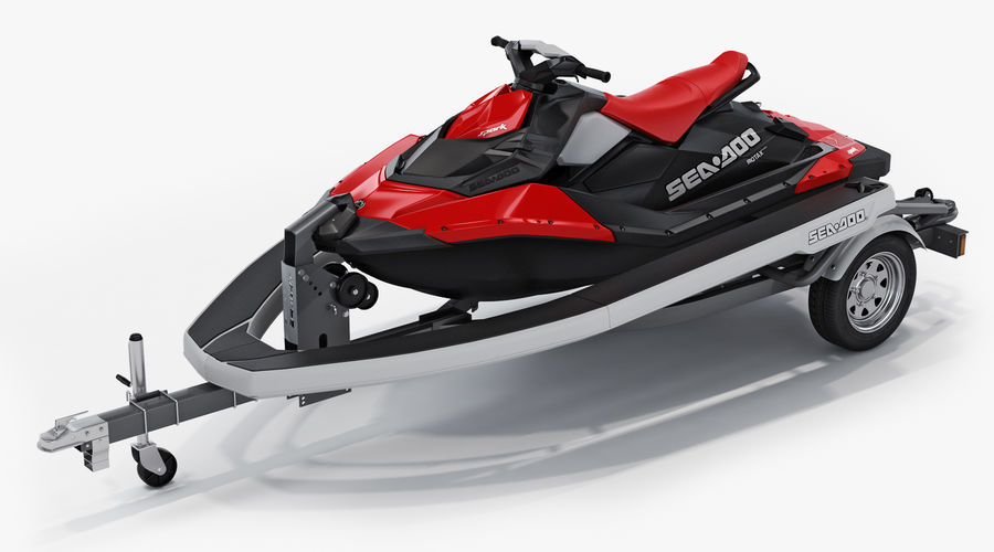 SEA-DOO Spark on Trailer royalty-free 3d model - Preview no. 4