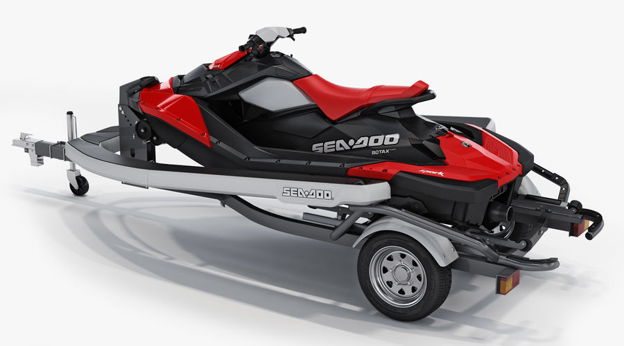 SEA-DOO Spark on Trailer royalty-free 3d model - Preview no. 6