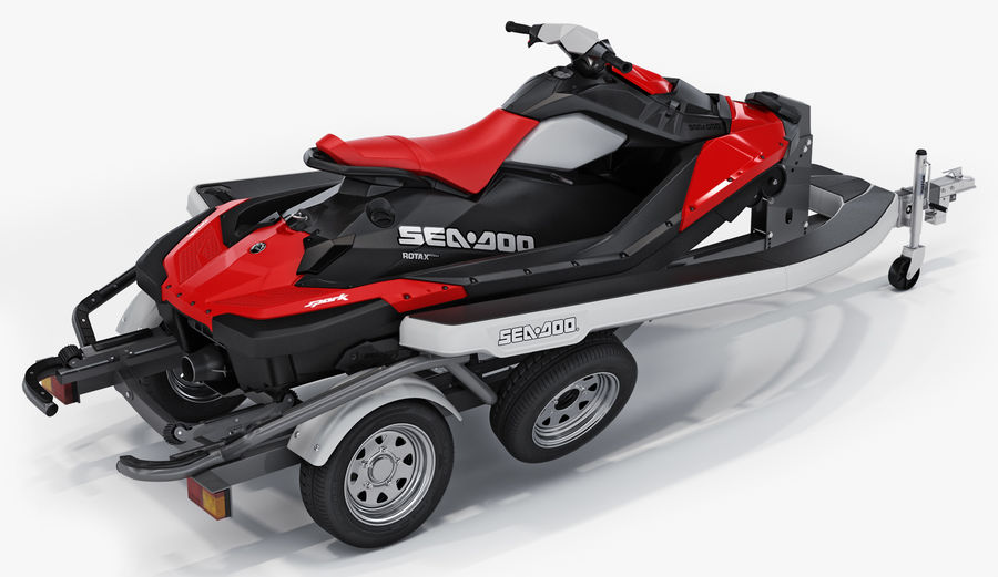 SEA-DOO Spark on Trailer royalty-free 3d model - Preview no. 1