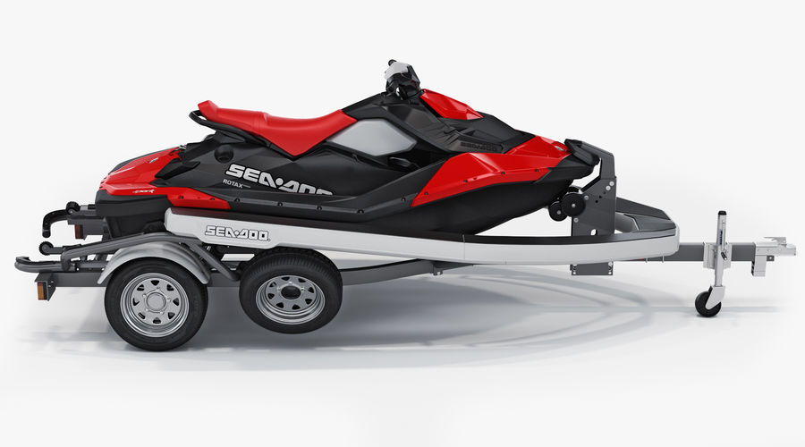 SEA-DOO Spark on Trailer royalty-free 3d model - Preview no. 2