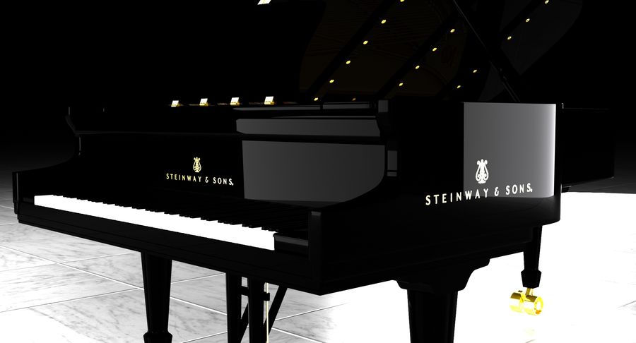 Piano Steinway Concert Grand Model D royalty-free 3d model - Preview no. 16