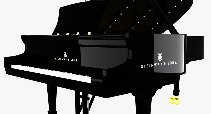 Piano Steinway Concert Grand Model D royalty-free 3d model - Preview no. 5