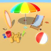 漫画のビーチパーティーと楽しい小道具 3d model