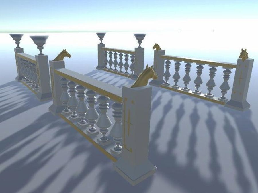 Architectural Balustrade - Palace Decor Baroque royalty-free 3d model - Preview no. 9