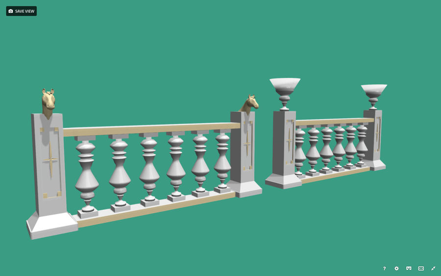 Architectural Balustrade - Palace Decor Baroque royalty-free 3d model - Preview no. 2