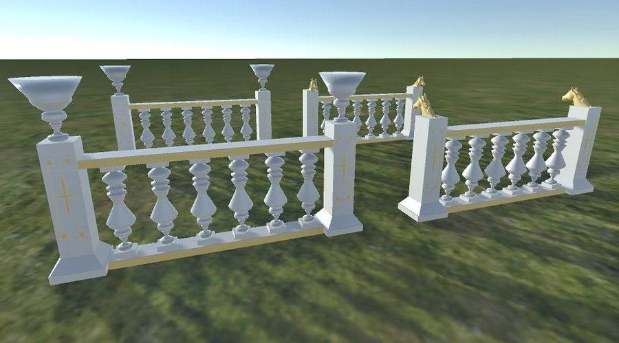 Architectural Balustrade - Palace Decor Baroque royalty-free 3d model - Preview no. 8