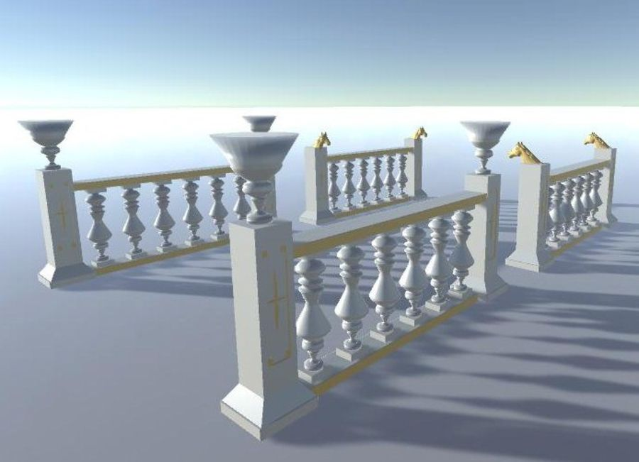 Architectural Balustrade - Palace Decor Baroque royalty-free 3d model - Preview no. 6