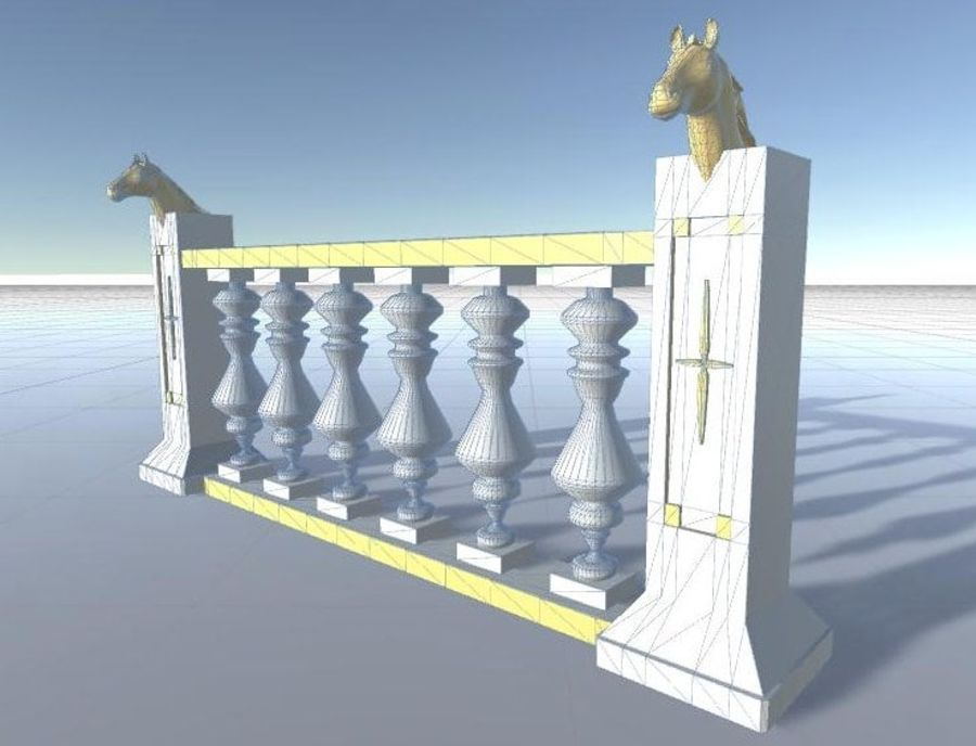 Architectural Balustrade - Palace Decor Baroque royalty-free 3d model - Preview no. 10