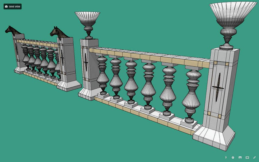 Architectural Balustrade - Palace Decor Baroque royalty-free 3d model - Preview no. 3