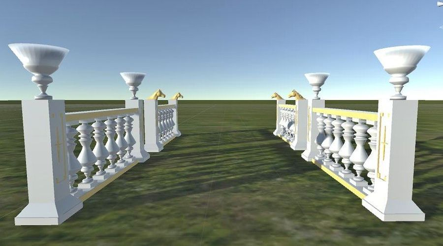 Architectural Balustrade - Palace Decor Baroque royalty-free 3d model - Preview no. 7
